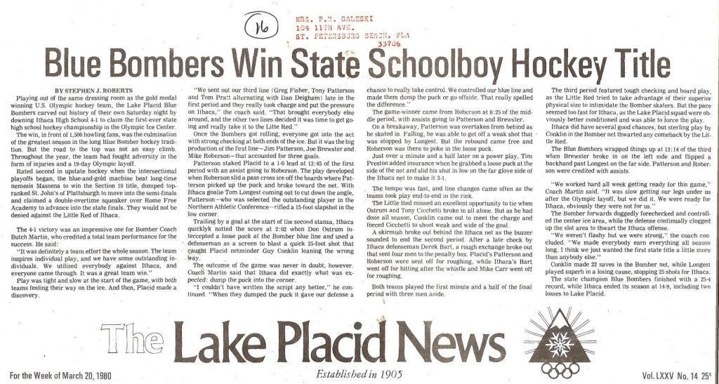The Lake Placid News headlines the Blue Bombers as 1980 State Champions