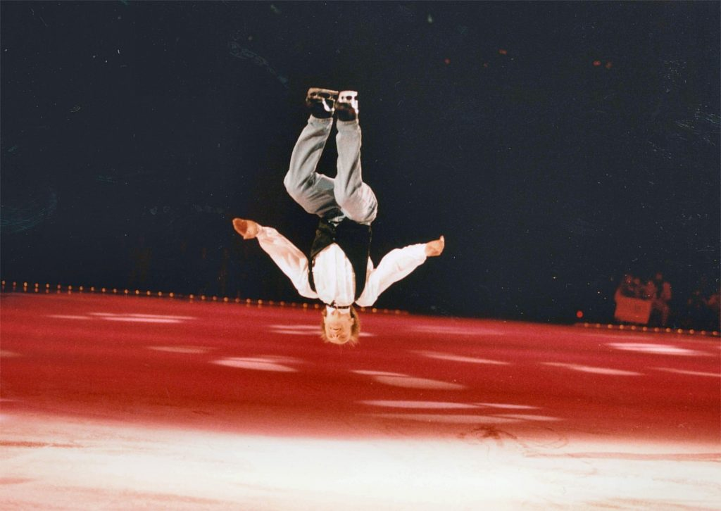 Scott Hamilton performing his famous backflip, 1997