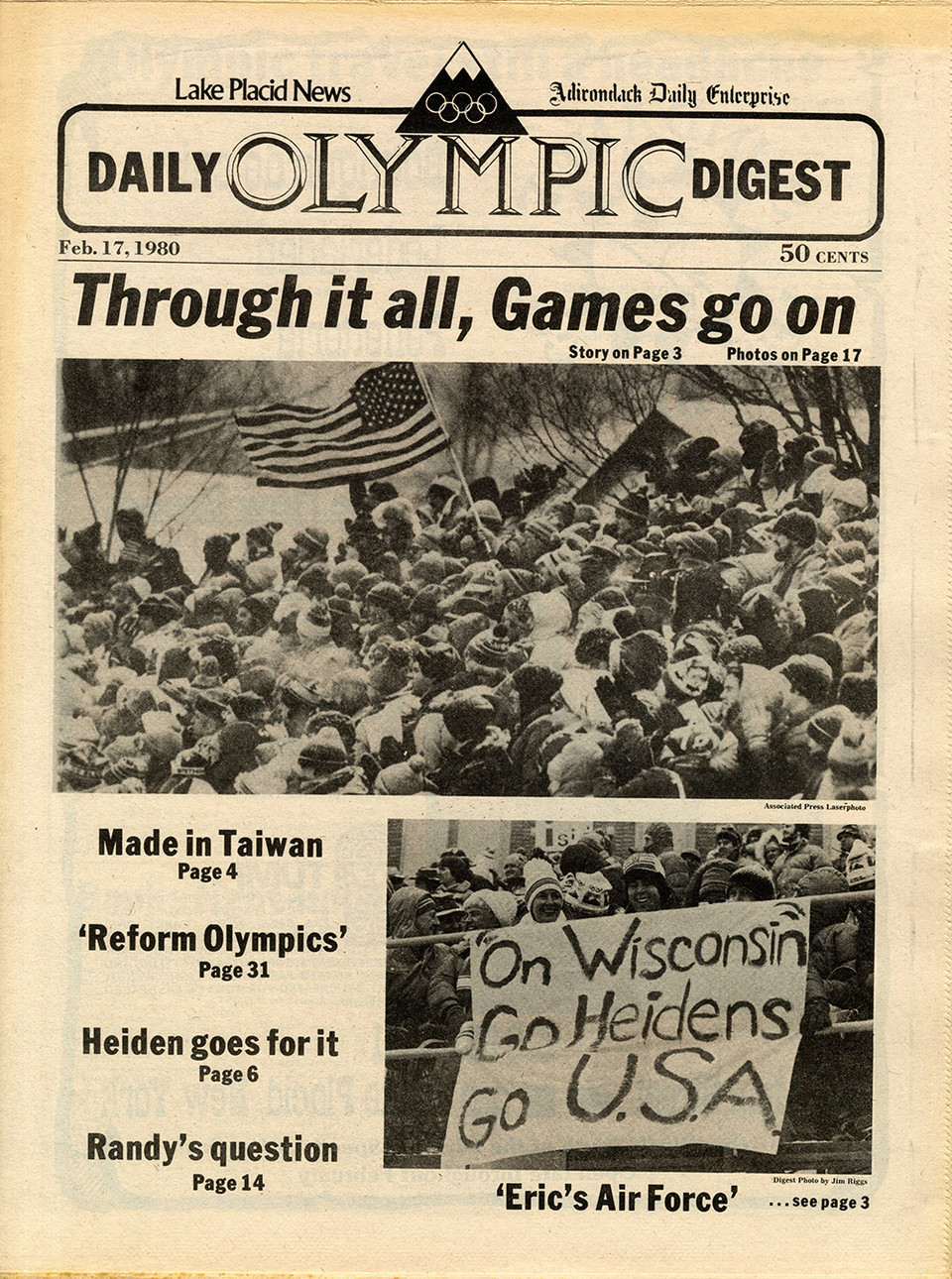Cover of Lake Placid News on February 17, 1980