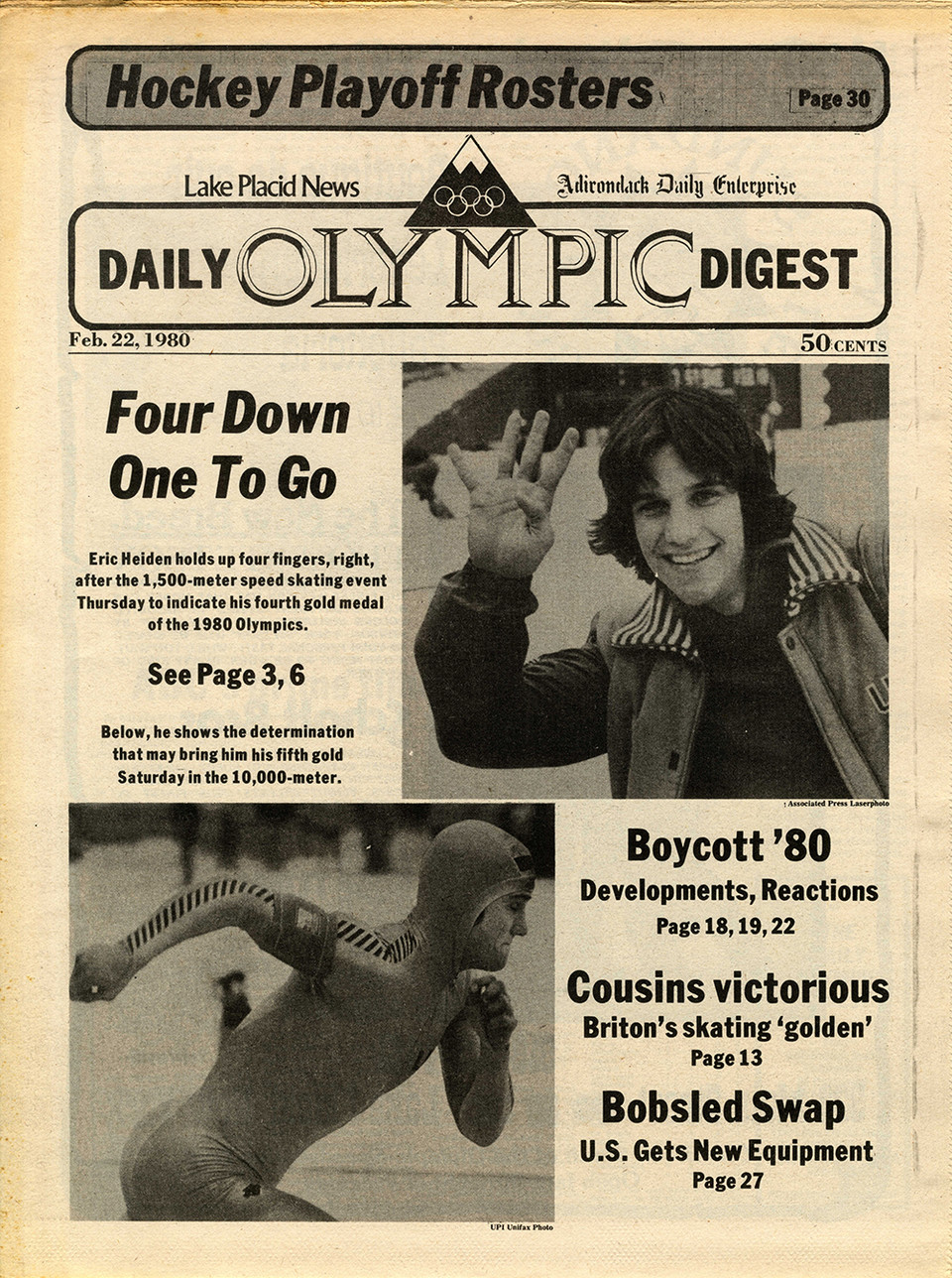 Cover of Lake Placid News on February 22, 1980