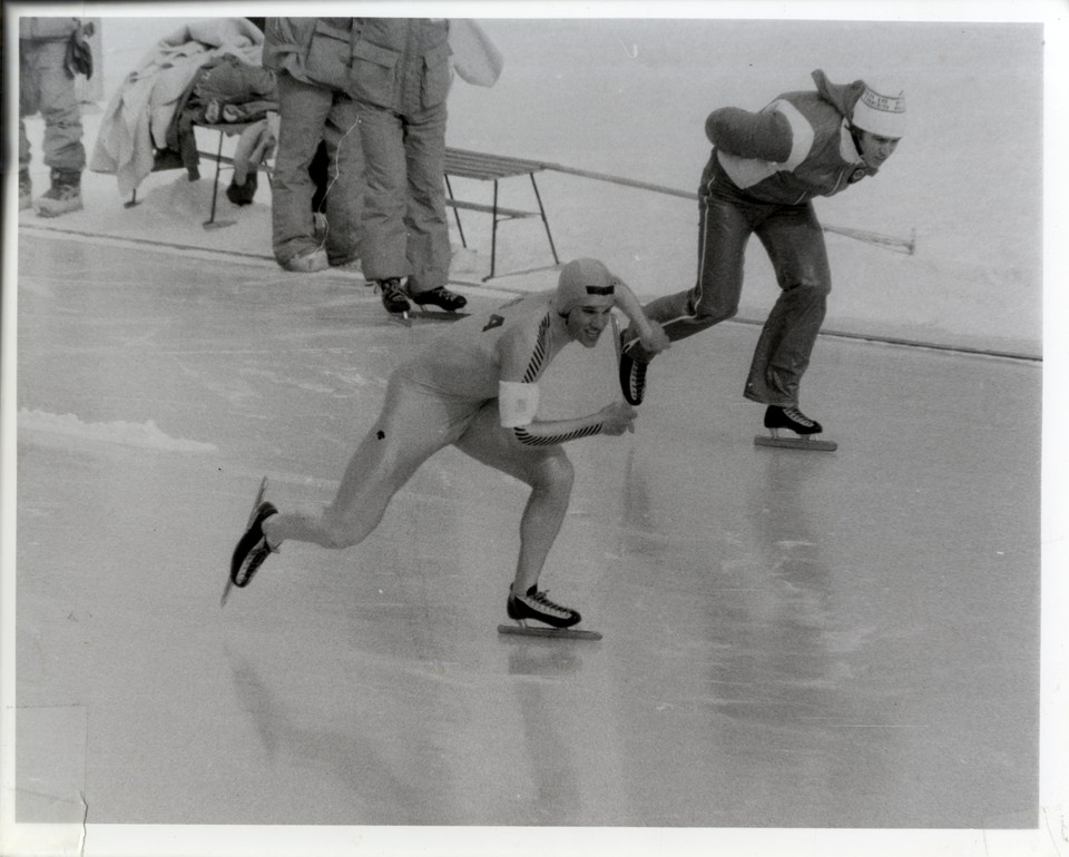 Competing in the 1980 Olympic Games in black and white