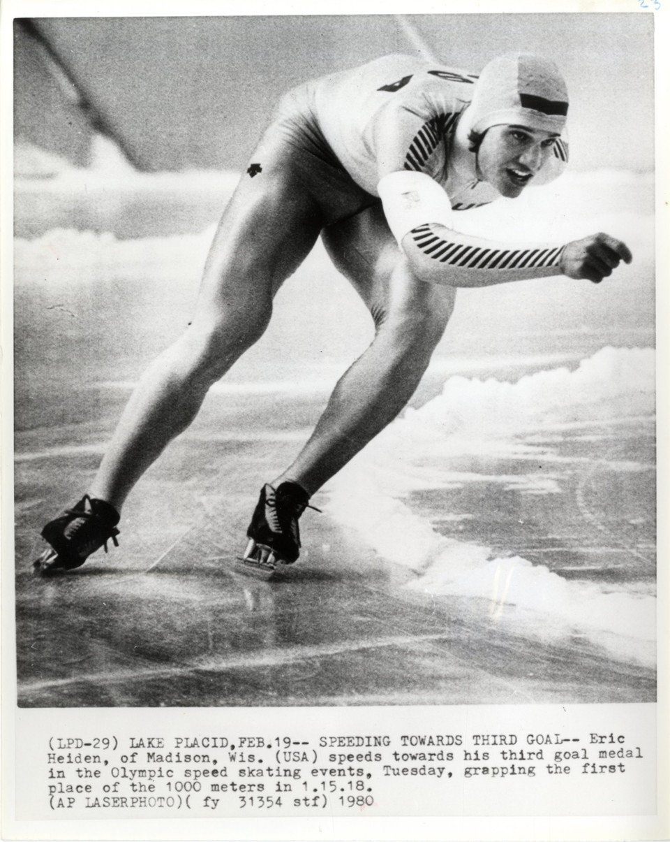 Eric Heiden speeding towards his third gold medal in the Olympic speed skating events