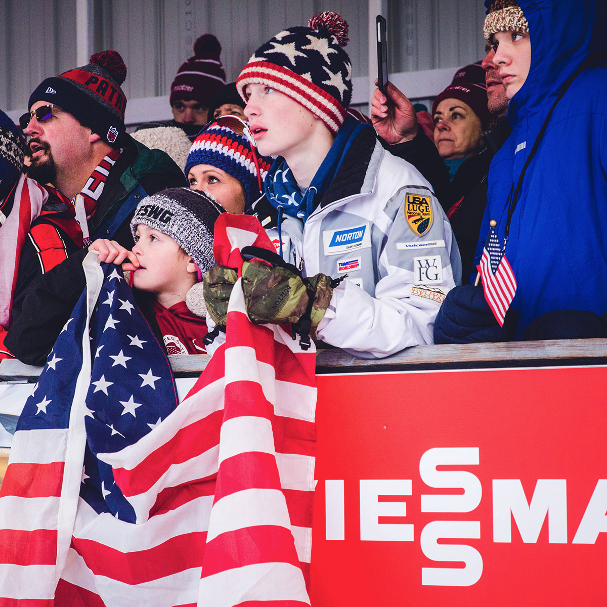 Excited Crowd at World Cup Luge
