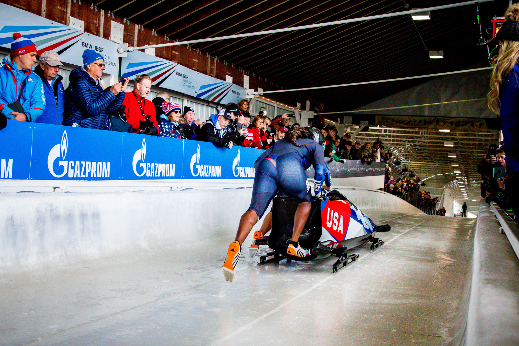 Bobsled team at the start