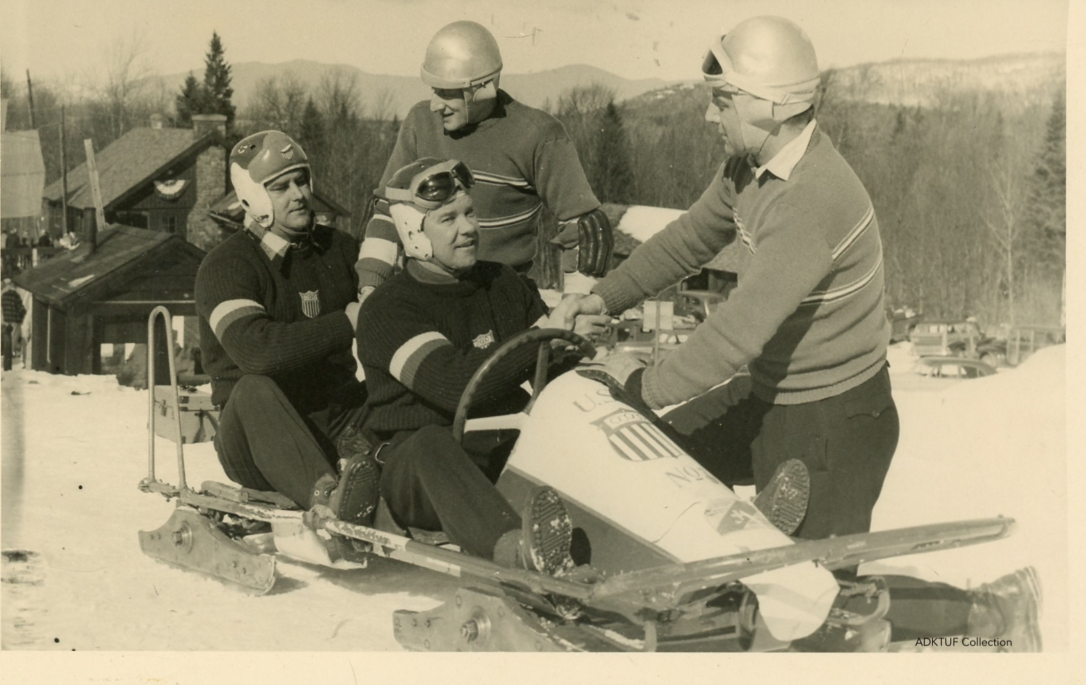 1949 Tuffy Latour with French bobsled team at 1949 World Championships