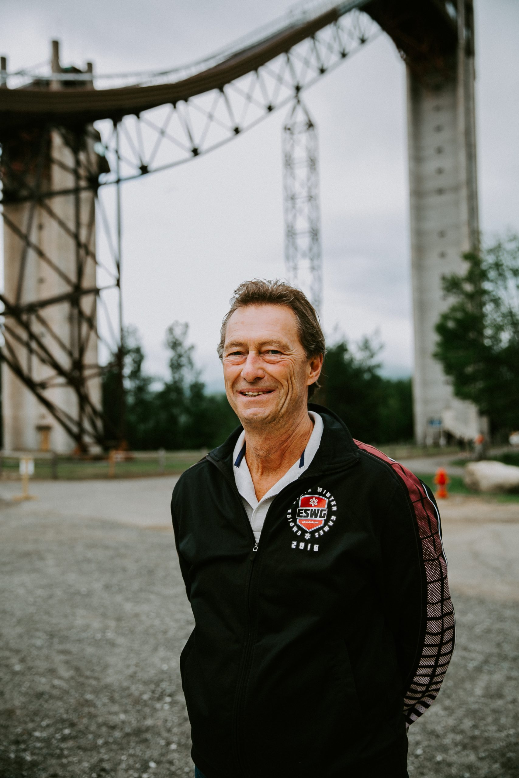 Jay Rand in front of the Ski Jumps