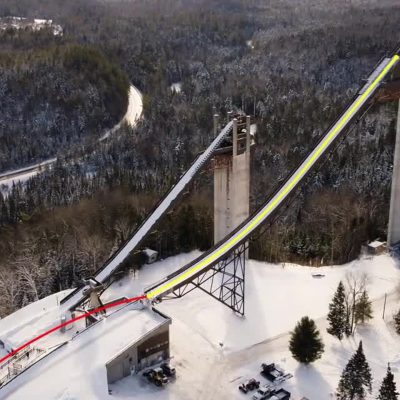 Wide shot of Olympic Jumping Complex in Lake Placid, NY