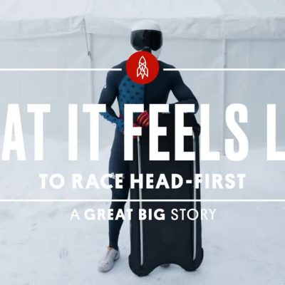 """Text """"What it feels like to race head-first for a great big story over skeleton rider"""