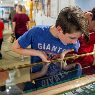 Kids Looking at Artifacts on the Lake Placid Olympic Museum