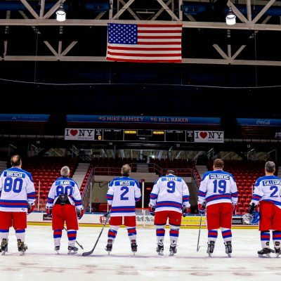 Miracle on Ice Fantasy Camp participants on ice before a game
